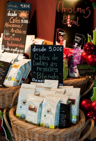 LISBON, PORTUGAL - DECEMBER 19: coffee bags, blends and other products at Starbucks coffee on December 19, 2011 in Lisbon, Portugal. Starbucks is the largest coffeehouse company in the world with 18,887 stores