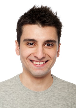young and smiling casual man headshot (isolated on white background) photo