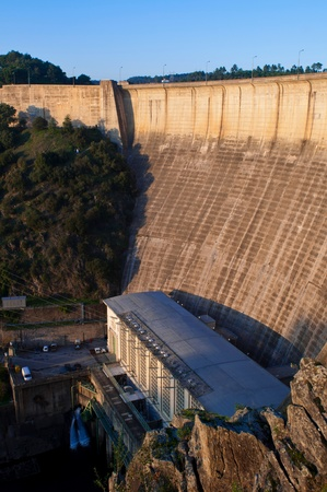 bode: stunning Castelo de Bode Dam in Tomar, Portugal (sunset picture) Editorial