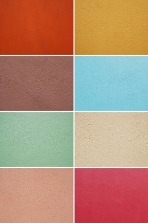 gorgeous collection of colorful painted walls (orange, yellow, purple, blue, green, light yellow, pink, red) suitable as texture or background photo
