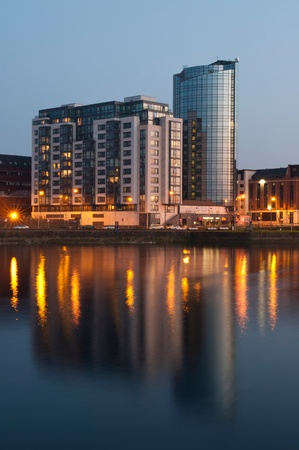 stunning nightscene with Riverpoint buildings over Shannon river in Limerick, Ireland (picture taken after sunset)