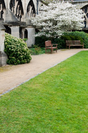 exterior garden with benchs inside the famous Gloucester Cathedral, England (United Kingdom)  photo