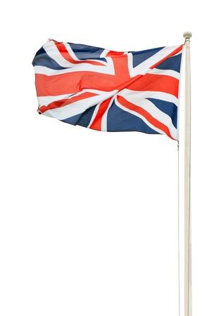 british flag: british union jack flag on a pole isolated on white background Stock Photo