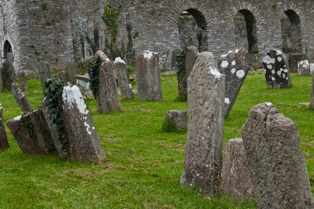graveyard: Saint Anne church and graveyard in Mallow town, Ireland (sunset picture) Stock Photo