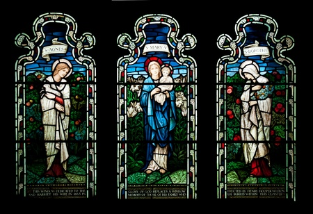 gothic window: collection of stained glass window from Gloucester Cathedral, England (United Kingdom) Stock Photo