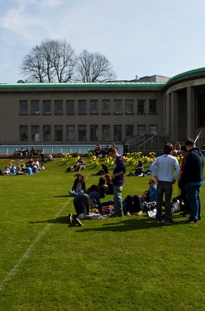 DUBLIN, IRELAND - MARCH 29: students enjoying outdoors at the cricket field in the Trinity College on March 29, 2012 in Dublin, Ireland.Ranked in 2011 by The Times as the 117th world
