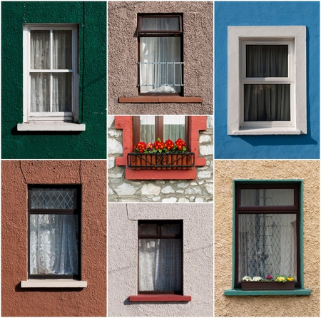 vibrant collection of colorful windows from Ireland Stock Photo - 13238015