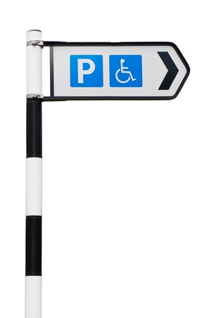 black and white parking sign with reserved wheelchair spaces  isolated on white background  Stock Photo - 13237962
