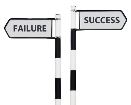 conceptual picture with success and failure road signs isolated on white background photo