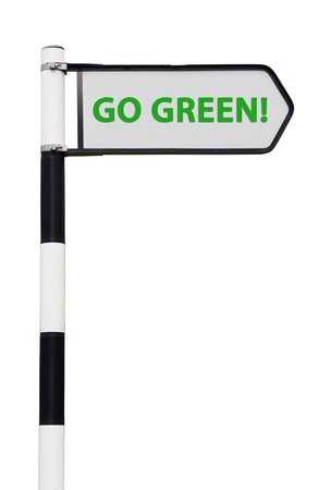 conceptual picture with go green road sign isolated on white background Stock Photo - 13246882