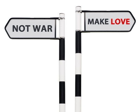 counterculture: conceptual picture with make love not war road signs isolated on white background