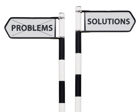 conceptual picture with solutions and problems road signs isolated on white background Stock Photo - 13246886