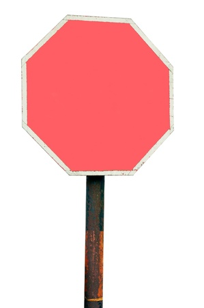 metal pole: blank road sign with red copy-space for your design (isolated on white background)
