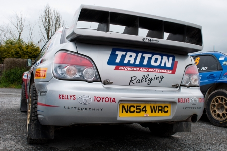 aileron: MALLOW, IRELAND - MAY 19: C. Britton Subaru Impreza in Park Ferme at The Jim Walsh Cork Forest Rally on May 19, 2012 in Mallow, Ireland. 4th round of the Valvoline National Forest Rally Championship. Editorial