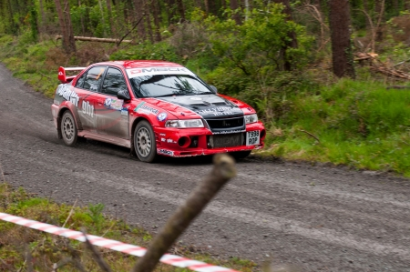 19's: MALLOW, IRELAND - MAY 19: S. Wright driving Mitsubishi Evo at the Jim Walsh Cork Forest Rally on May 19, 2012 in Mallow, Ireland. 4th round of the Valvoline National Forest Rally Championship.