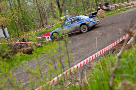 MALLOW, IRELAND - MAY 19: M. Cairns driving Subaru Impreza at the Jim Walsh Cork Forest Rally on May 19, 2012 in Mallow, Ireland. 4th round of the Valvoline National Forest Rally Championship.