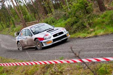 MALLOW, IRELAND - MAY 19: K. Barrett driving Subaru Impreza at the Jim Walsh Cork Forest Rally on May 19, 2012 in Mallow, Ireland. 4th round of the Valvoline National Forest Rally Championship.