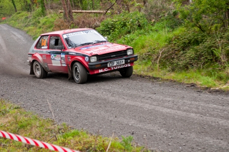 MALLOW, IRELAND - MAY 19: S. Mcgirr driving Toyota Starlet at the Jim Walsh Cork Forest Rally on May 19, 2012 in Mallow, Ireland. 4th round of the Valvoline National Forest Rally Championship.