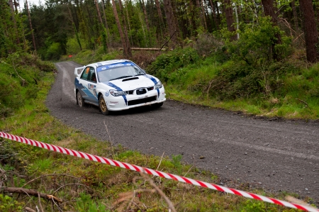 MALLOW, IRELAND - MAY 19: S. Cullen driving Subaru Impreza at the Jim Walsh Cork Forest Rally on May 19, 2012 in Mallow, Ireland. 4th round of the Valvoline National Forest Rally Championship.