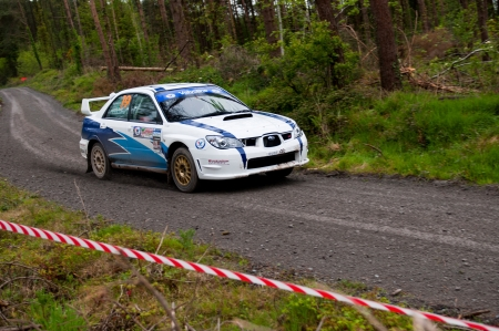 MALLOW, IRELAND - MAY 19: S. Cullen driving Subaru Impreza at the Jim Walsh Cork Forest Rally on May 19, 2012 in Mallow, Ireland. 4th round of the Valvoline National Forest Rally Championship. Stock Photo - 13760618