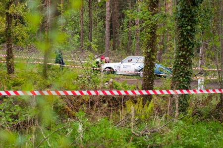 19's: MALLOW, IRELAND - MAY 19: S. Benskin off road on Ford Escort at the Jim Walsh Cork Forest Rally on May 19, 2012 in Mallow, Ireland. 4th round of the Valvoline National Forest Rally Championship.