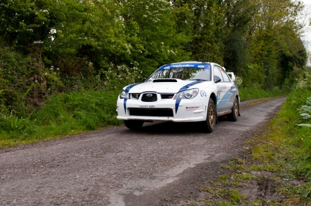 19's: MALLOW, IRELAND - MAY 19: S. Cullen driving Subaru Impreza at the Jim Walsh Cork Forest Rally on May 19, 2012 in Mallow, Ireland. 4th round of the Valvoline National Forest Rally Championship.