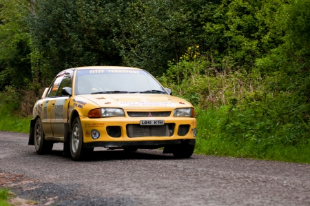 MALLOW, IRELAND - MAY 19: M. O' Connor driving Mitsubishi Evo at the Jim Walsh Cork Forest Rally on May 19, 2012 in Mallow, Ireland. 4th round of the Valvoline National Forest Rally Championship. Stock Photo - 13760649