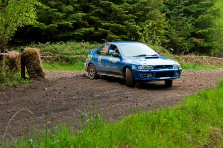 MALLOW, IRELAND - MAY 19: D. Creedon driving Subaru Impreza at the Jim Walsh Cork Forest Rally on May 19, 2012 in Mallow, Ireland. 4th round of the Valvoline National Forest Rally Championship.