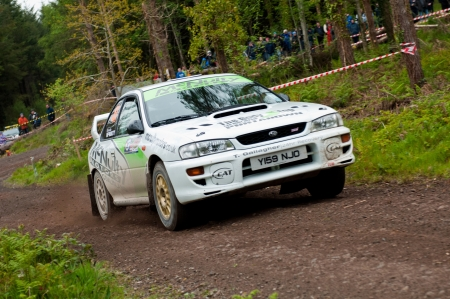 MALLOW, IRELAND - MAY 19: E. Mcnulty driving Subaru Impreza at the Jim Walsh Cork Forest Rally on May 19, 2012 in Mallow, Ireland. 4th round of the Valvoline National Forest Rally Championship.
