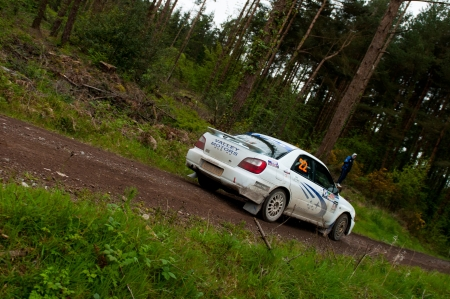MALLOW, IRELAND - MAY 19: J. Connors driving Subaru Impreza at the Jim Walsh Cork Forest Rally on May 19, 2012 in Mallow, Ireland. 4th round of the Valvoline National Forest Rally Championship. Stock Photo - 13760751