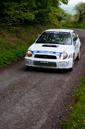 MALLOW, IRELAND - MAY 19: J. Connors driving Subaru Impreza at the Jim Walsh Cork Forest Rally on May 19, 2012 in Mallow, Ireland. 4th round of the Valvoline National Forest Rally Championship.