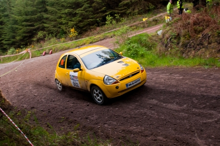 ka: MALLOW, IRELAND - MAY 19: unidentified driver on Ford Ka at the Jim Walsh Cork Forest Rally on May 19, 2012 in Mallow, Ireland. 4th round of the Valvoline National Forest Rally Championship. Editorial