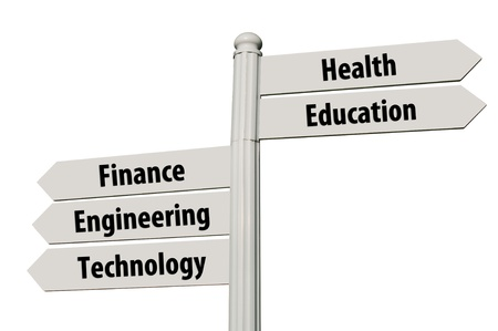 conceptual picture of a signpost with five career paths isolated on white background (all signs cleaned) photo