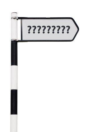 questionmark: conceptual picture of a signpost with question marks isolated on white background (sign cleaned)
