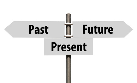 conceptual picture of a signpost with past, present and future isolated on white background  all signs cleaned on grey      Stock Photo - 14076157