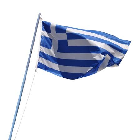 vibrant greek flag on a blue pole isolated on white background photo