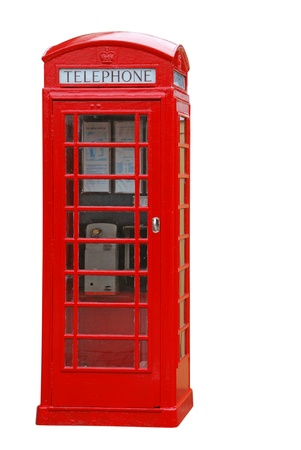 cabina telefonica: típica cabina de teléfono rojo británico aisladas sobre fondo blanco
