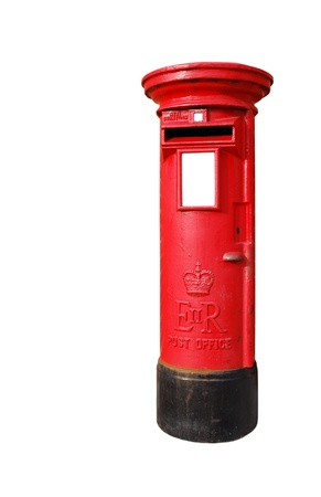 typical red british postbox isolated on white background photo