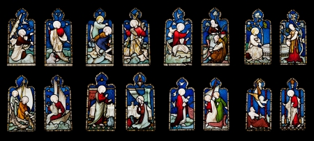 many windows: collection of 16 religious stained glass windows in Gloucester Cathedral, England  United Kingdom   isolated on black background