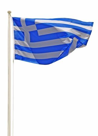 vibrant greek flag on a white pole isolated on white background photo