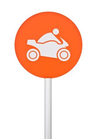orange motorbike sign on post pole  isolated on white background Stock Photo - 16215279