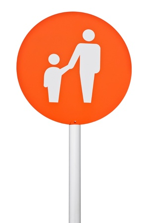 orange parent and child parking sign on post pole  isolated on white background  photo