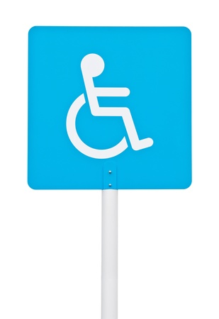 blue square handicap sign with wheelchair on post pole  isolated on white background  Stock Photo - 16215280
