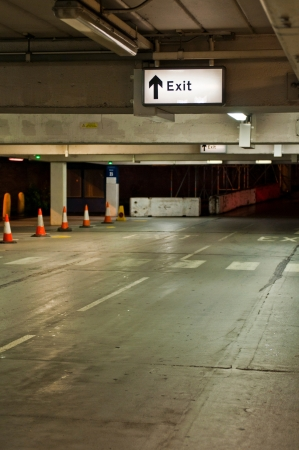 exit sign at an underground parking in the UK photo