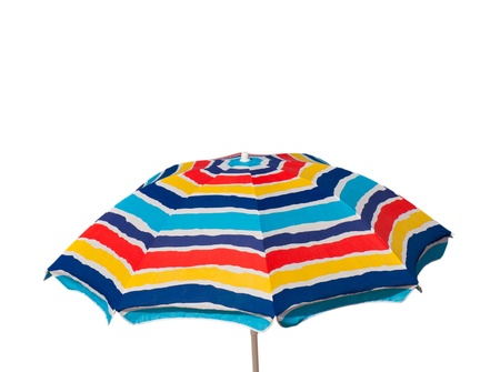 sun umbrella: colorful beach umbrella isolated on white background