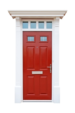door handles: gorgeous red british house door  isolated on white background  Stock Photo