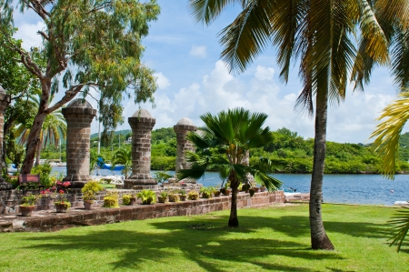 antigua: Nelsons Dockyard, cultural heritage site and marina in English Harbour, Antigua (Caribbean) Stock Photo