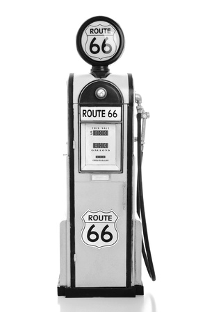 fuel crisis: copy of a yellow vintage route 66 fuel pump isolated on white background  B W version  Stock Photo