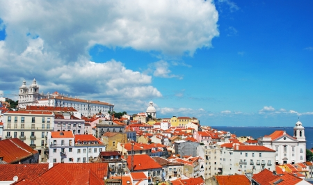 stunning Lisbon cityscape featuring Graca Church (left), Pantheon (centre) and right Santo Estevao Church, Portugal Stock Photo