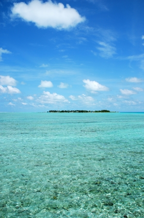 maldivian island with a great waterview and cloudscape photo